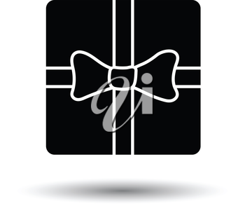 Gift box with ribbon icon. White background with shadow design. Vector illustration.