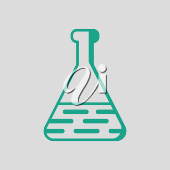 Medical flask icon. Gray background with green. Vector illustration.