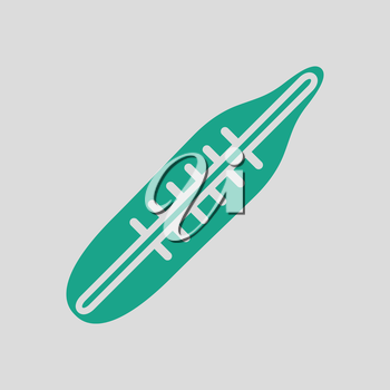 Medical thermometer icon. Gray background with green. Vector illustration.