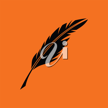 Writing feather icon. Orange background with black. Vector illustration.