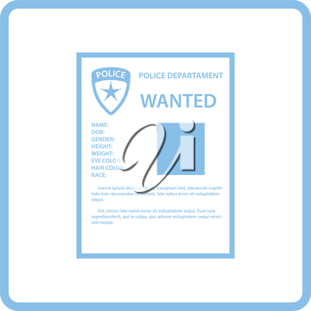 Wanted poster icon. Blue frame design. Vector illustration.