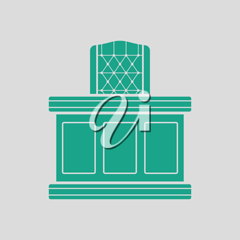 Judge table icon. Gray background with green. Vector illustration.