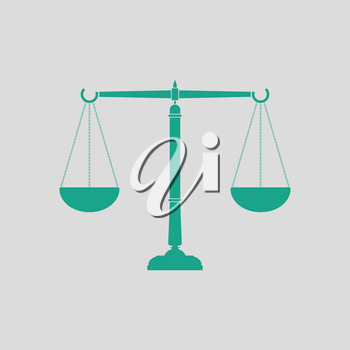 Justice scale icon. Gray background with green. Vector illustration.