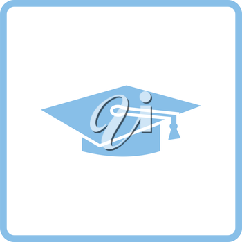 Graduation cap icon. Blue frame design. Vector illustration.