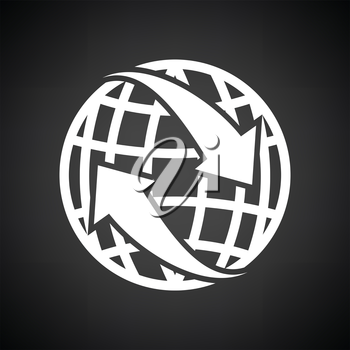 Globe with arrows icon. Black background with white. Vector illustration.
