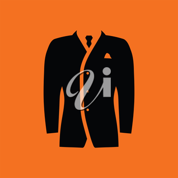 Mail suit icon. Orange background with black. Vector illustration.