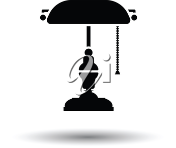 Writer's lamp icon. White background with shadow design. Vector illustration.