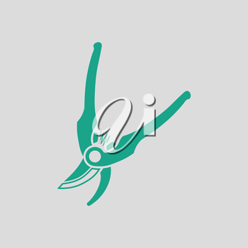 Garden scissors icon. Gray background with green. Vector illustration.