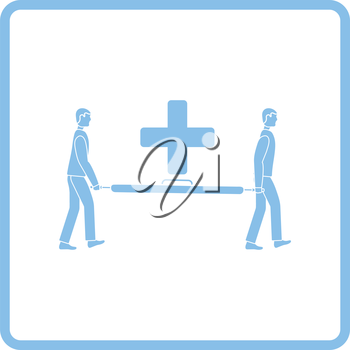 Soccer medical staff carrying stretcher icon. Blue frame design. Vector illustration.