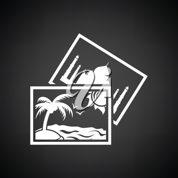 Two travel photograph icon. Black background with white. Vector illustration.