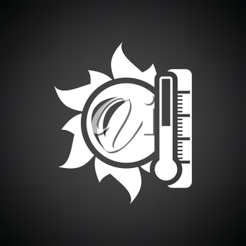Sun and thermometer with high temperature icon. Black background with white. Vector illustration.
