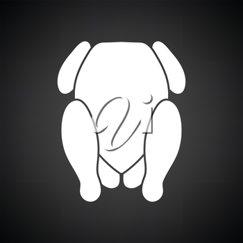 Chicken icon. Black background with white. Vector illustration.