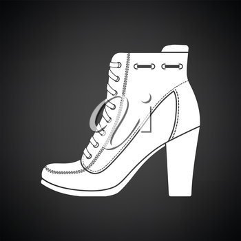 Ankle boot icon. Black background with white. Vector illustration.