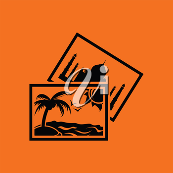 Two travel photograph icon. Orange background with black. Vector illustration.