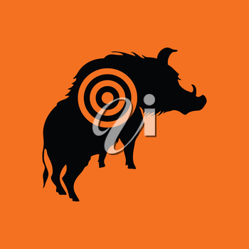 Boar silhouette with target icon. Orange background with black. Vector illustration.