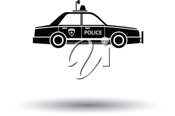 Police car icon. White background with shadow design. Vector illustration.
