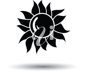 Sun icon. White background with shadow design. Vector illustration.