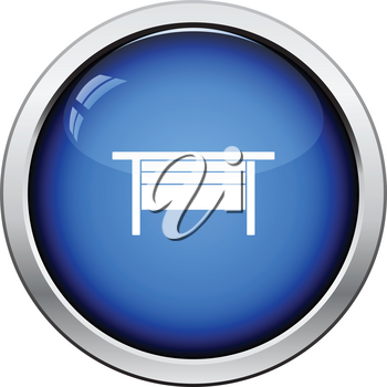 Boss office table icon. Glossy button design. Vector illustration.