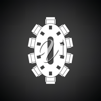 Negotiating table icon. Black background with white. Vector illustration.