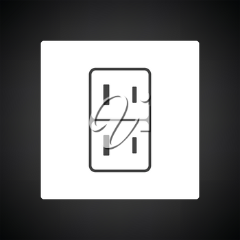 Japan electrical socket icon. Black background with white. Vector illustration.