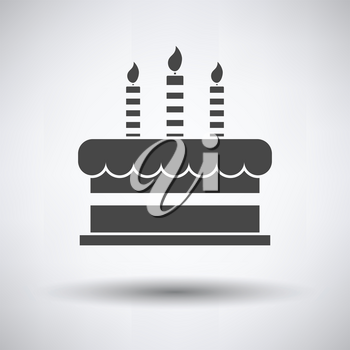Party cake icon on gray background, round shadow. Vector illustration.