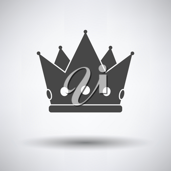 Party crown icon on gray background, round shadow. Vector illustration.