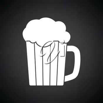 Mug of beer icon. Black background with white. Vector illustration.