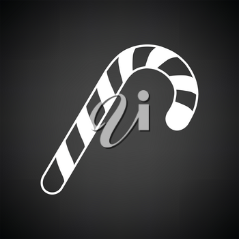 Stick candy icon. Black background with white. Vector illustration.