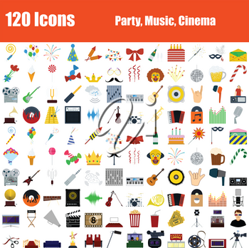 Set of 120 icons. Party, Music, Cinema themes. Color Flat Design. Vector Illustration.