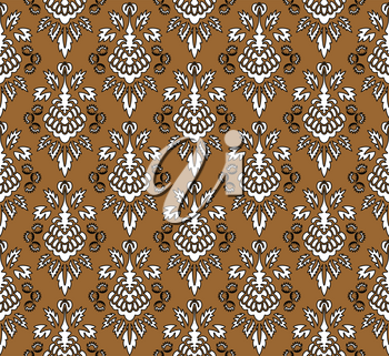 Damask Seamless Pattern. Elegant Outline  Design in Royal Baroque Style Background Texture. Floral and Swirl Element. Ideal for Textile Print and Wallpapers.Vector Illustration.