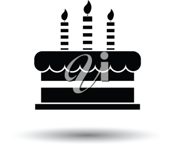Party cake icon. White background with shadow design. Vector illustration.