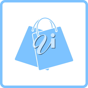 Two Shopping Bags Icon. Blue Frame Design. Vector Illustration.