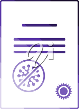 No Coronavirus Certificate Icon. Flat Color Ladder Design. Vector Illustration.