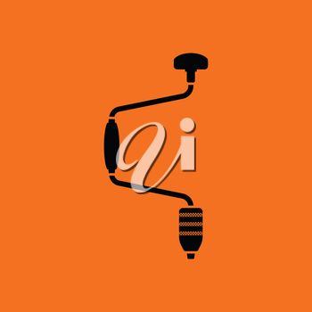 Auger icon. Orange background with black. Vector illustration.