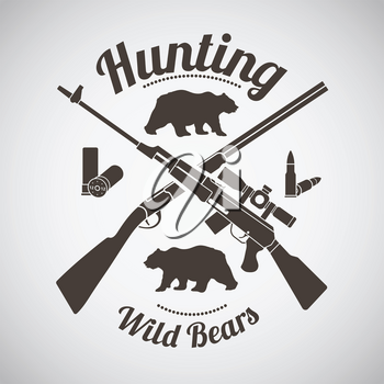 Hunting Vintage Emblem. Crossed Hunting Gun And Rifle With Ammo and Bears Silhouettes.  Dark Brown Retro Style.  Vector Illustration.