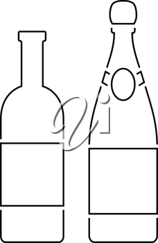 Wine and champagne bottles icon. Thin line design. Vector illustration.