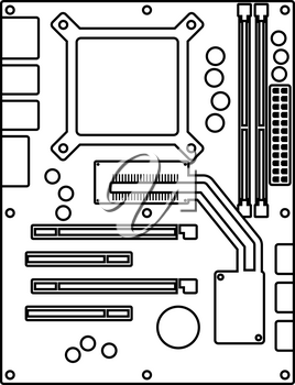 Motherboard Icon. Outline Simple Design With Editable Stroke. Vector Illustration.