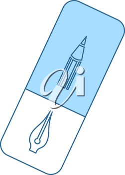 Eraser Icon. Thin Line With Blue Fill Design. Vector Illustration.