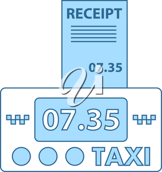 Taxi Meter With Receipt Icon. Thin Line With Blue Fill Design. Vector Illustration.