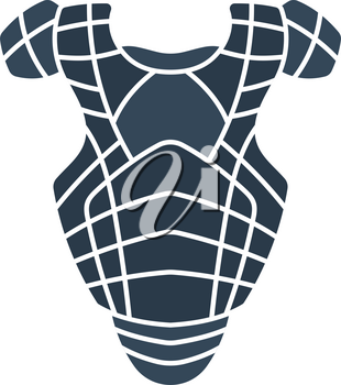 Baseball Chest Protector Icon. Flat Color Design. Vector Illustration.