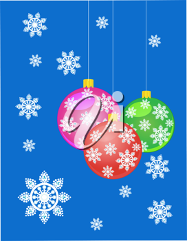 Royalty Free Clipart Image of Hanging Christmas Ornaments