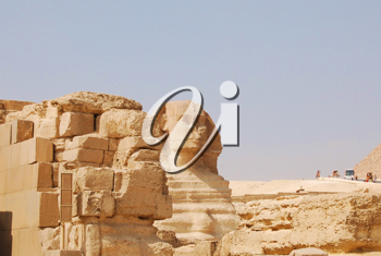 Royalty Free Photo of the Sphinx and a Pyramid