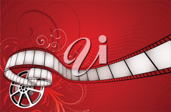 Royalty Free Clipart Image of a Movie Reel Background