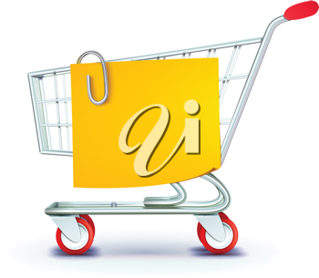 Royalty Free Clipart Image of a Shopping Cart and Note