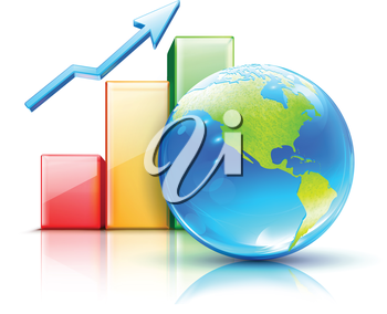 Royalty Free Clipart Image of a Global Business Concept