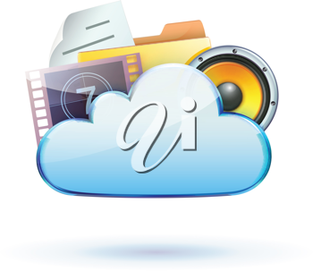 Royalty Free Clipart Image of a Cloud Based Media Sharing Icon