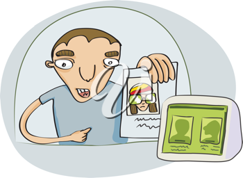 Royalty Free Clipart Image of a Man Showing His ID