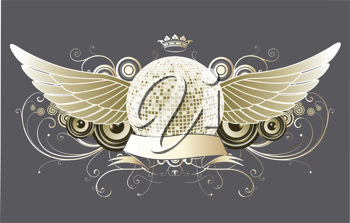 Royalty Free Clipart Image of a Winged Disco Ball