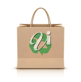 Vector illustration of environmentally friendly paper shopping bag with paper handles and green recycle logo on the front