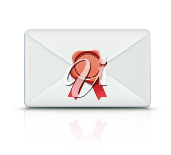 Vector illustration of close detailed post envelope and red old-fashioned wax seal with ribbons and copy space for your own text and images
